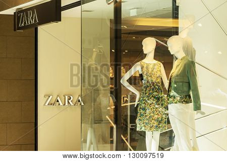 ROSTOCK, GERMANY - MAY 12, 2016: shopwindow of Zara store. Zara is a Spanish clothing and accessories. The company was founded in 1975 by Amancio Ortega and Rosalia Mera.