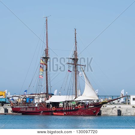 SOCHI, RUSSIA - 16 MAY, 2014. The Spanish schooner Atyla. Large sailing ships in the port of Sochi.