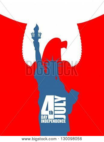Statue Of Liberty On Background Of Red Eagle. American Independence Day. Usa National Symbols. Tradi