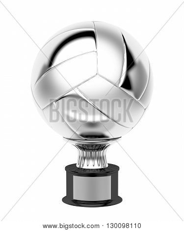 Silver volleyball trophy isolated on white background, 3D illustration