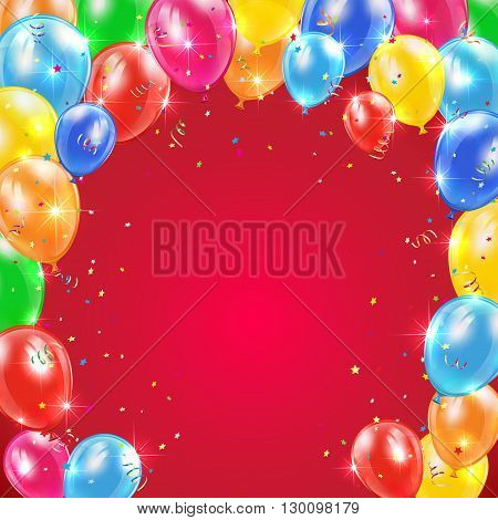 Red background with frame from flying colorful balloons, tinsel and confetti, Happy Birthday theme, illustration.