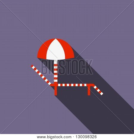 Sun lounger with umbrella icon in flat style with long shadow. Vacation and trip symbol