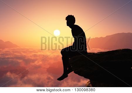 Silhouette of man on the cliff. 3d render
