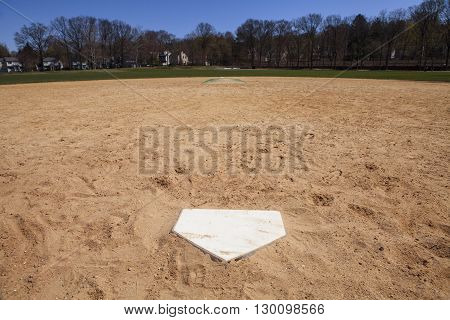 A view of the baseball field from home plate