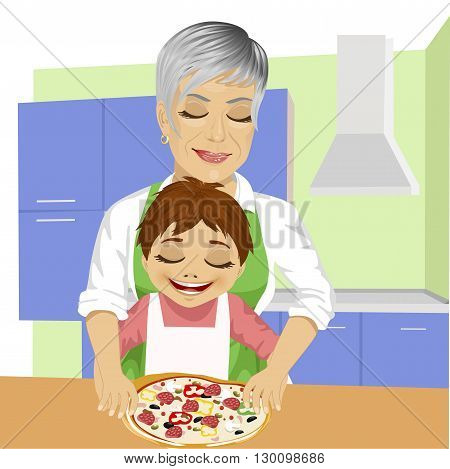 Happy family, grandmother with her grandson preparing delicious pizza together in kitchen