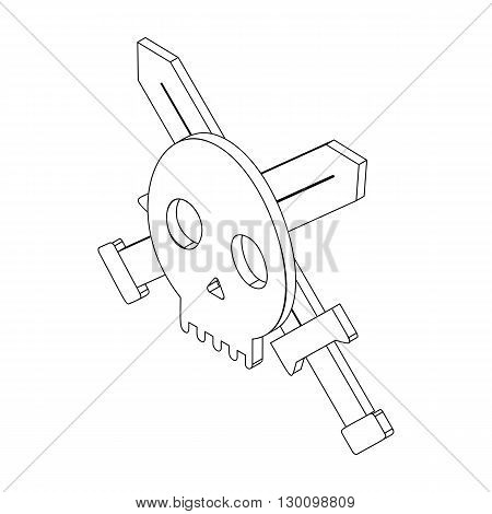 Skull with two swords icon, isometric 3d style isolated on white background. Black illustration