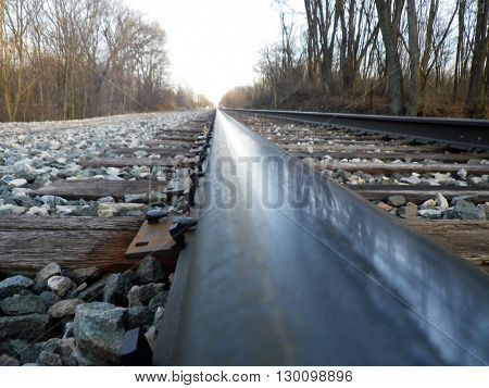 visually stimulating railroad going as far as the eye can see