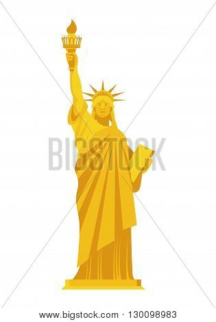 Golden Statue Of Liberty. Precious Symbol Of America. Monument Of Precious Yellow Metal. Luxury Usa