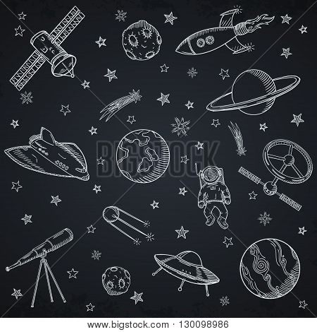 Hand drawn set of astronomy doodles. Hand drawn vector illustration.