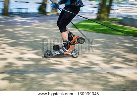 Man Cross Country Skiing With Roller Ski