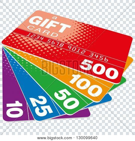 Colorful Gift Cards set on transparent background. Vector EPS10