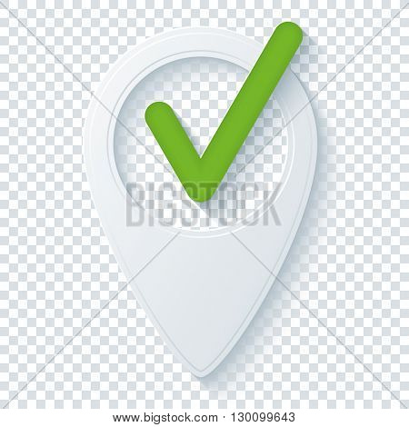 Map pointer with Check mark on transparent background. Vector EPS10.