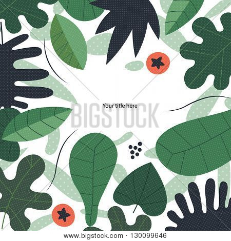 Green leaves illustrated vector template with a place for a header.
