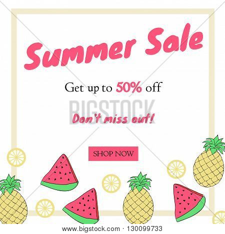 summer Sale. Banner with fruit . Vector