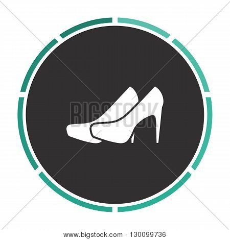 shoes Simple flat white vector pictogram on black circle. Illustration icon
