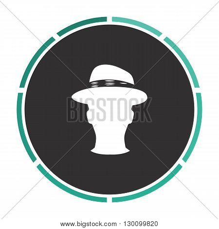 gentleman Simple flat white vector pictogram on black circle. Illustration icon