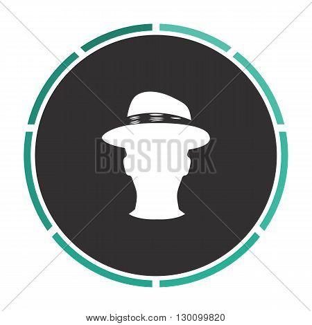gentleman Simple flat white vector pictogram on black circle. Illustration icon