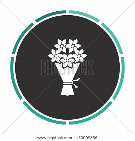 bouquet Simple flat white vector pictogram on black circle. Illustration icon