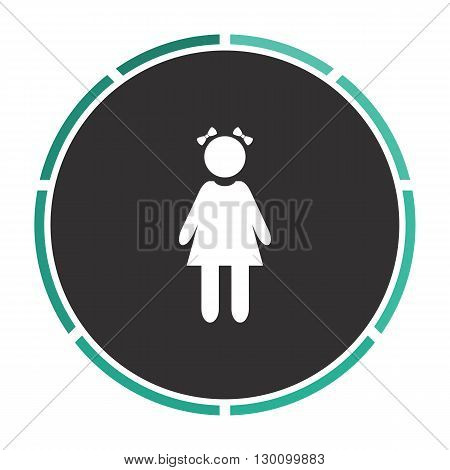 girl Simple flat white vector pictogram on black circle. Illustration icon