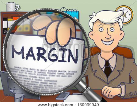 Margin. Young Businessman in Office Workplace Showing Paper with Text through Lens. Colored Modern Line Illustration in Doodle Style.