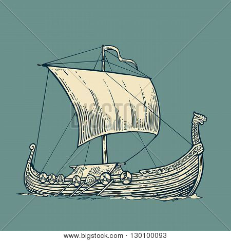Drakkar floating on the sea waves.  Hand drawn design element sailing ship. Vintage vector engraving illustration for poster, label, postmark. Isolated on blue background