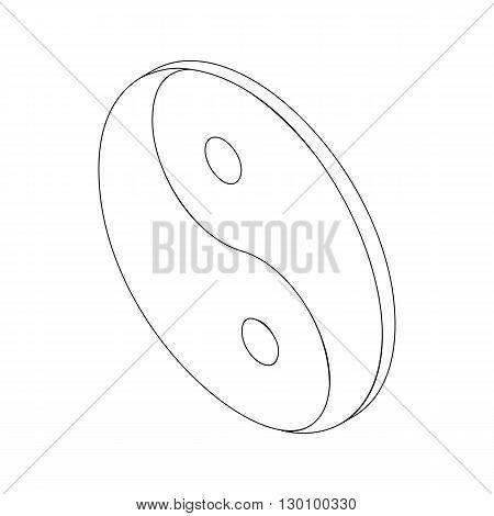 Yin Yang symbol icon, isometric 3d style. Black illustration for web isolated on white