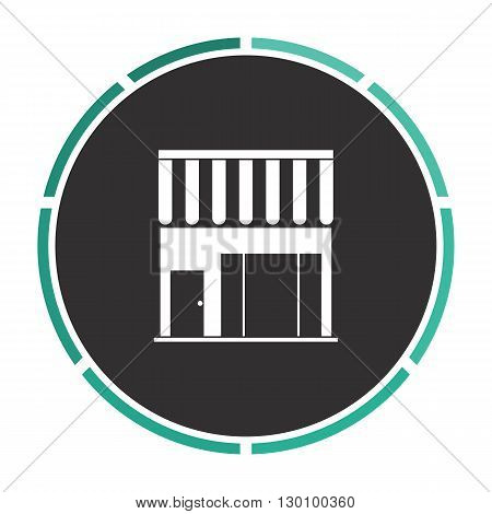 store Simple flat white vector pictogram on black circle. Illustration icon