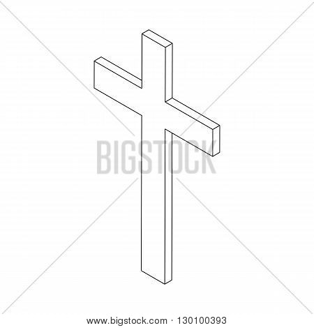 Christian Cross symbol icon, isometric 3d style. Black illustration on white for web