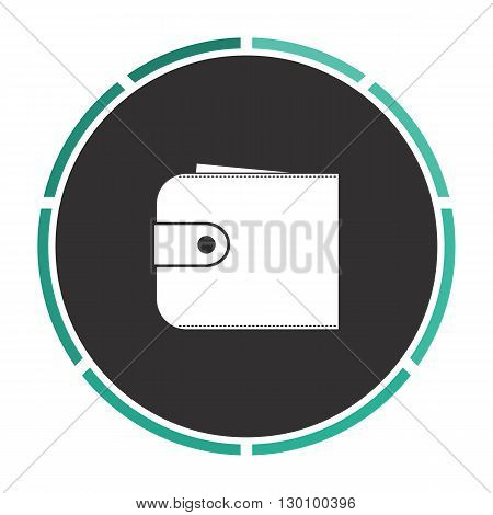 pouch Simple flat white vector pictogram on black circle. Illustration icon