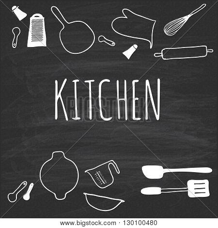 Kitchenware, drawn on a blackboard. Hand drawn. Vector