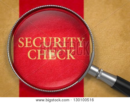 Security Check Concept through Magnifier on Old Paper with Dark Red Vertical Line Background. 3D Render.