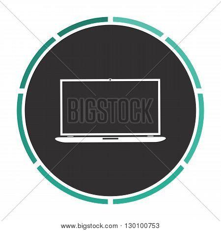 Laptop Simple flat white vector pictogram on black circle. Illustration icon