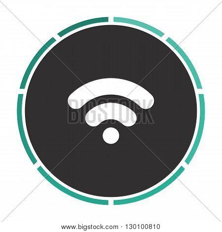 Wifi signal Simple flat white vector pictogram on black circle. Illustration icon