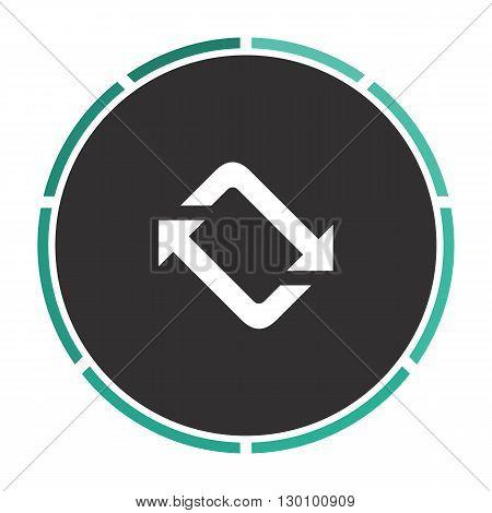 refresh Simple flat white vector pictogram on black circle. Illustration icon