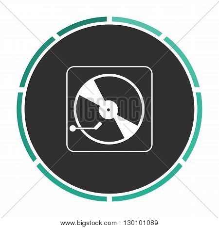 Vinyl turntable Simple flat white vector pictogram on black circle. Illustration icon
