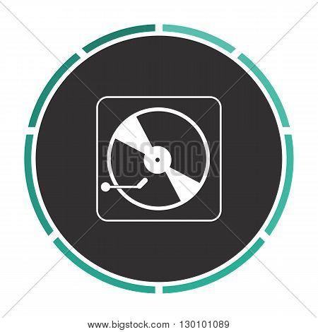 Vinyl turntable Simple flat white vector pictogram on black circle. Illustration icon