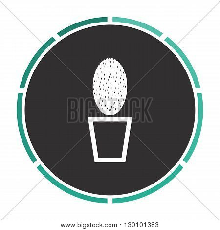cacti Simple flat white vector pictogram on black circle. Illustration icon