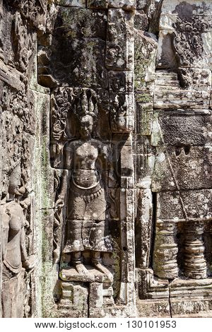 Architecture of old buddhist Angkor Archeological park temple - Bayon in Angkor Thom. Monument of Cambodia - Siem Reap