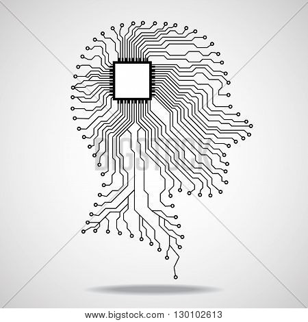 Human head, cpu, circuit board, vector illustration, eps 10