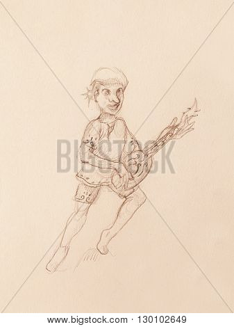 Man - Dwarf plaing lute. pencil sketch on paper. Original hand draw