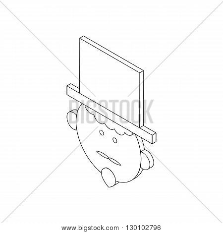 Magician in the hat icon in isometric 3d style isolated on white background. Circus symbol