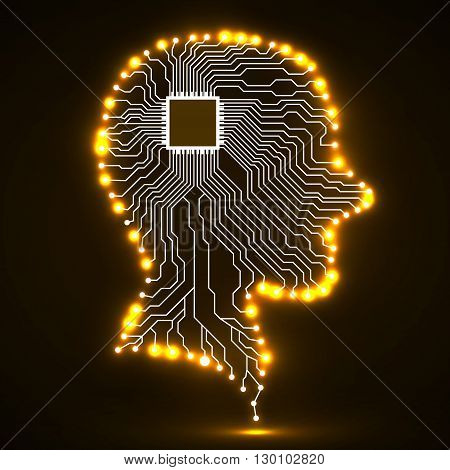 Neon human head, cpu, circuit boar,d vector illustration, eps 10