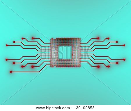 Cpu, microprocessor, microchip, circuit board, vector illustration, eps 10
