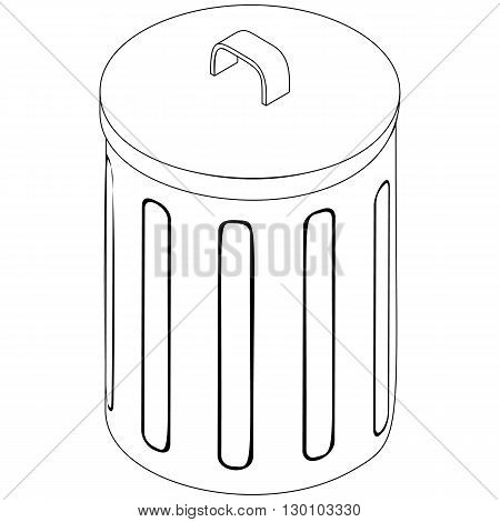 Trash bin icon in isometric 3d style isolated on white background. Cleaning