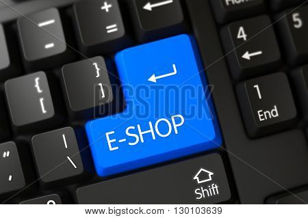 E-shop Concept: Modern Laptop Keyboard with E-shop, Selected Focus on Blue Enter Button. E-shop Close Up of Black Keyboard on a Modern Laptop. 3D Render.