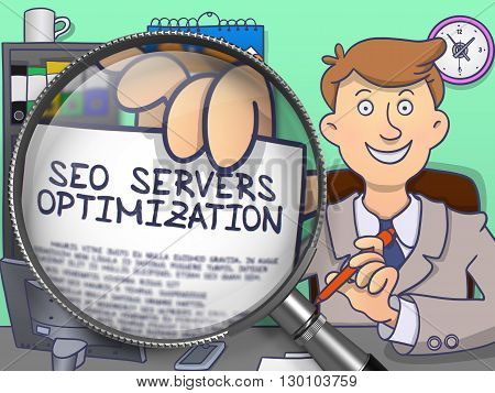 SEO Servers Optimization on Paper in Man's Hand through Magnifying Glass to Illustrate a Business Concept. Multicolor Modern Line Illustration in Doodle Style.