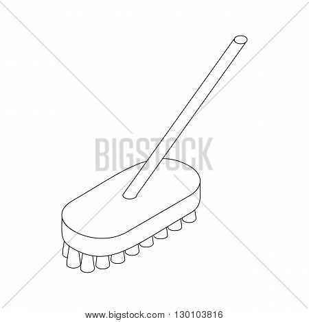 Brush broom for sweeper icon in isometric 3d style isolated on white background