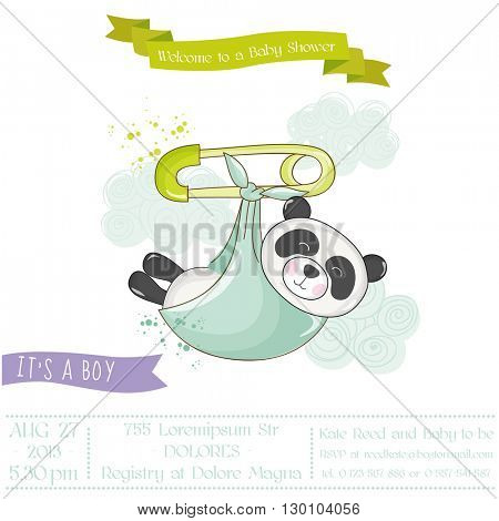 Baby Shower or Arrival Card - Baby Panda - in vector