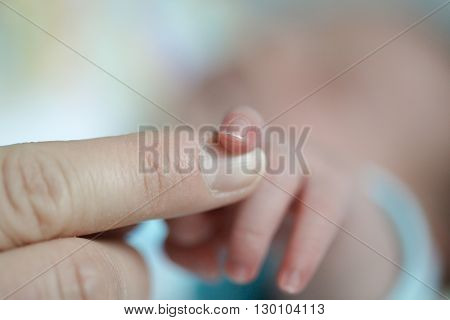 Close-up of a newborns finger touching mothers hand. Innocence security purity motherhood new life love and happiness concept.