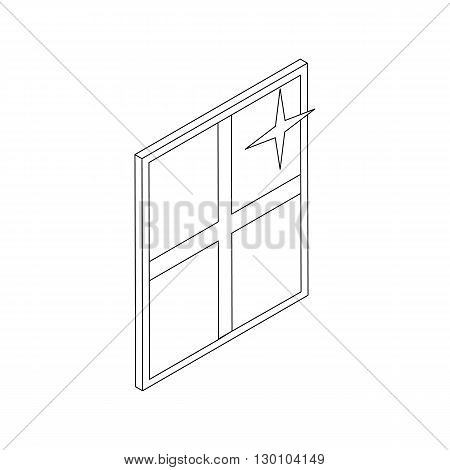 Clean shiny window icon in isometric 3d style isolated on white background